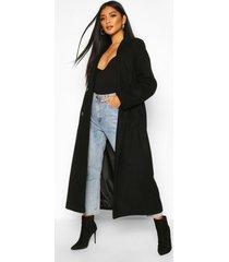 longline double breasted belted wool look coat, black