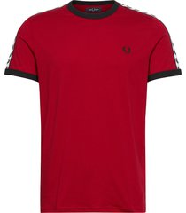 taped ringer t-shirt t-shirts short-sleeved röd fred perry