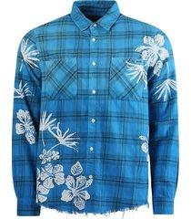 bleach floral plaid print shirt