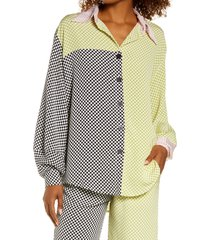 kkco mixed checker lounge shirt, size xx-small in green at nordstrom