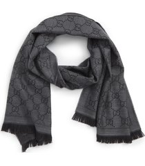 women's gucci gg jacquard wool scarf, size one size - grey