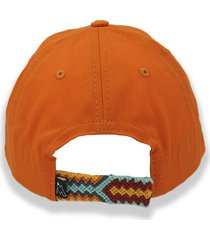 gorra naranja otun tejido wayuú azul, amarillo y rojo