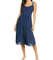 nordstrom romantic swiss dot a-line nightgown, size medium in navy peacoat at nordstrom