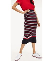 tommy hilfiger women's ribbed stripe pencil skirt navy / red / white stripe - l