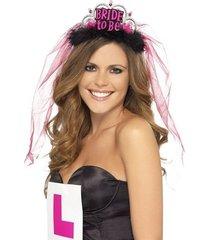 bachelorette party favors bride to be tiara w/ veil black accessory