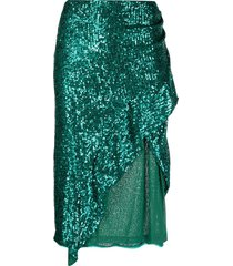 pinko square-sequins embellished skirt - green