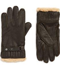 men's barbour leather gloves, size medium - brown