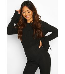 crew neck chunky rib top with tie detail cuff, black