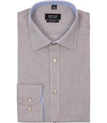 koszula bexley 2366 długi rękaw slim fit brąz