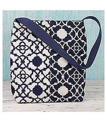cotton shoulder bag, 'midnight blue elegance' (india)