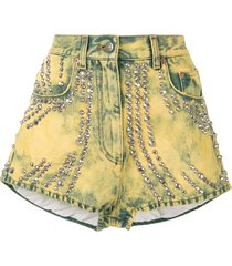 gucci pre-owned tiger embroidery studded denim shorts - yellow