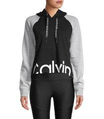 calvin klein performance women's colorblock cotton-blend hoodie - black combo - size xl
