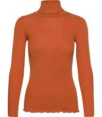 silk t-shirt regular ls roller neck turtleneck polotröja orange rosemunde