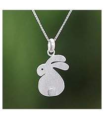 sterling silver pendant necklace, 'fluffy rabbit' (thailand)