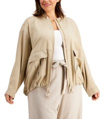 calvin klein plus size cropped zip-front jacket