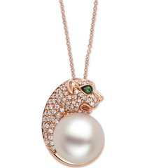 """effy cultured freshwater pearl (10mm), diamond (1/4 ct. t.w.) & tsavorite panther head 18"""" pendant necklace in 14k rose gold"""