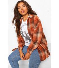 plus oversized boyfriend flannel shirt, rust