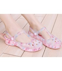 sandalias de plataforma gruesa antideslizante para mujer-rosa