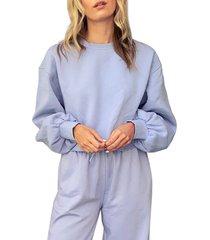 women's topshop puff sleeve crop sweatshirt