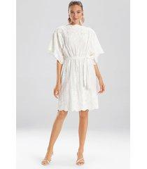 natori embroidered voile dress, women's, white, 100% cotton, size m natori