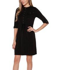 belldini black label 3/4 sleeve button down mandarin collar dress