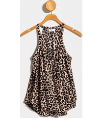 alice animal print tank top - taupe