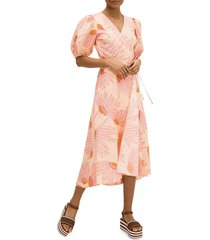 kate spade new york women's fling floral wrap dress - light guava - size 8