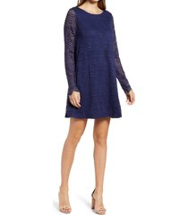 women's lilly pulitzer ophelia lace long sleeve dress, size small - blue