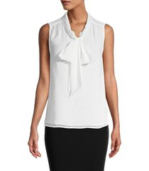 calvin klein women's dotted pussycat bow blouse - white - size l