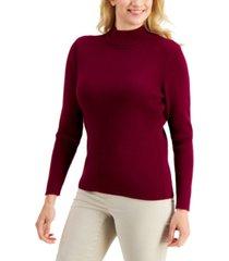 karen scott cotton solid rib mock-neck sweater, created for macy's