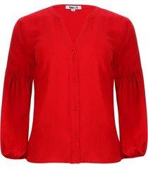 blusa manga recogido color rojo, talla 12