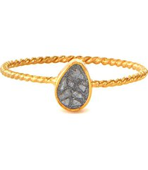 diamond 18k gold resin twisted band ring