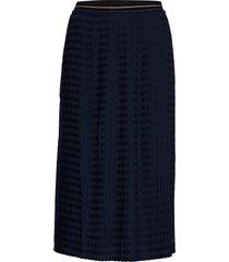 skirt in plissé w. cc logo elastic knälång kjol blå coster copenhagen