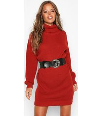 petite belted roll neck rib sweater dress, rust