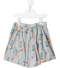velveteen debbie floral print shorts - blue