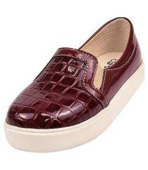 sapatilha sapatênis raniel calçados slip bico croco elástico verniz vinho
