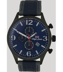 relógio cronógrafo philiph london masculino - pl80054612m azul marinho