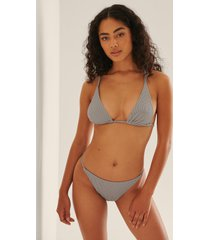 na-kd swimwear ribbstickad bikinitrosa med hög benskärning - grey