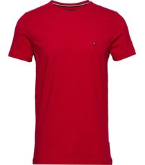 stretch slim fit tee t-shirts short-sleeved röd tommy hilfiger