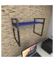 prateleira industrial para escritório aço preto mdf 30 cm azul escuro modelo ind03azes