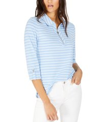 tommy hilfiger striped zip-front top