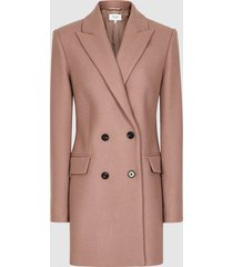 reiss dana - double-breasted short wool coat in dusky pink, womens, size 10