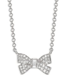 saks fifth avenue women's 14k white gold & diamond bow pendant necklace