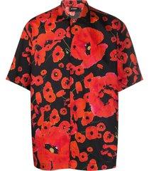 les hommes poppy print boxy shirt - black