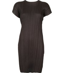 pleats please issey miyake mellow pleats tunic dress - grey