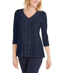 jm collection crochet-trimmed laced textured top, created for macy's