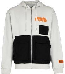 heron preston cotton full zip hoodie