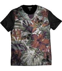 camiseta di nuevo flores com caveira sorrindo folhas tropical rap skull preta