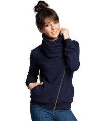 sweater be b071 sweatshirt met rits - marineblauw
