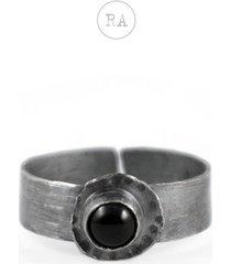 srebrny pierścionek z onyksem, regulowany